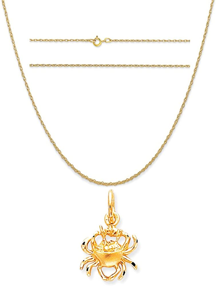 K/&C 10k Yellow Gold Crab Charm on a 14K Yellow Gold Carded Rope Chain Necklace