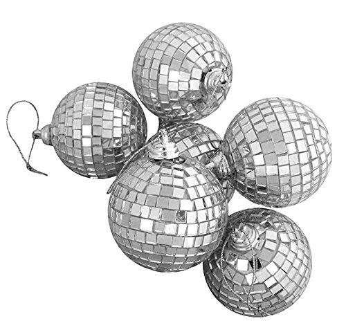 6ct Silver Splendor Mirrored Glass Disco Ball Christmas Ornaments 3.25