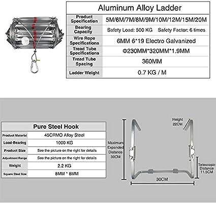 SSCYHT Escalera Escape Aleación Aluminio Emergencia Fuego Resistente al Fuego Escalera evacuación Seguridad con Gancho Resistente Escalera Rescate contra Incendios,15M: Amazon.es: Deportes y aire libre