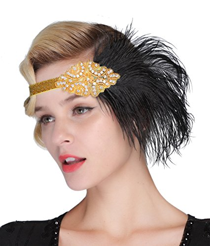 FAIRY COUPLE 1920s Flapper Headband Roaring 20s Sequined Showgirl Headpiece (Gold)