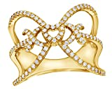 """0.5 Cttw White Natural Diamond """"XOX"""" Heart Open Ring in 10K Solid Gold"""