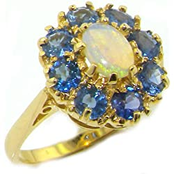 14k Yellow Gold Natural Opal and Sapphire Womens Cluster Ring - Sizes 4 to 12 Available