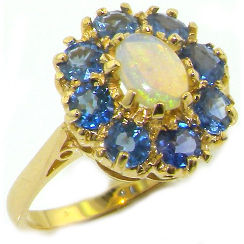 Ring Estate Sapphire Cocktail - LetsBuyGold 14k Yellow Gold Natural Opal and Sapphire Womens Band Ring - Size 5