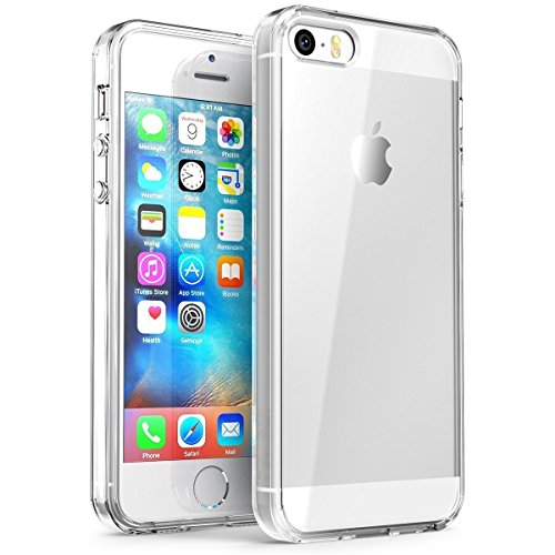 iPhone SE Case, Splaks [Crystal Shell] Extra Shock-Absorb Clear Back Panel, Extreme Lightweight Transparent Soft Flexible Silicone Rubber Anti-Scratch Protective Case for iPhone SE/5/5S
