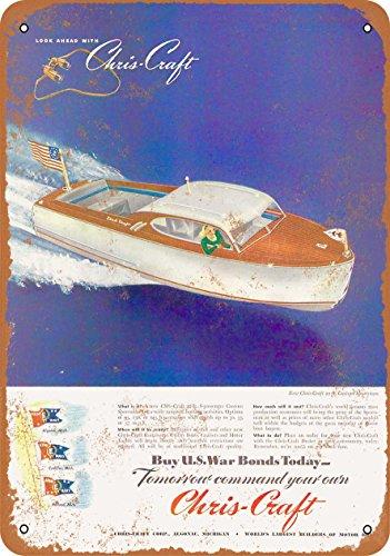 Wall-Color 9 x 12 METAL SIGN - 1945 Chris-Craft Speedboats - Vintage Look ()