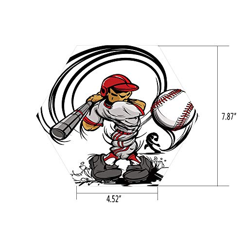 Hexagon Wall Sticker,Mural Decal,Teen Room Decor,Baseball Cartoon Player Hitting The Ball Boys Kids Caricature Print,Grey Red White,for Home Decor 4.52x7.87 10 Pcs/Set -