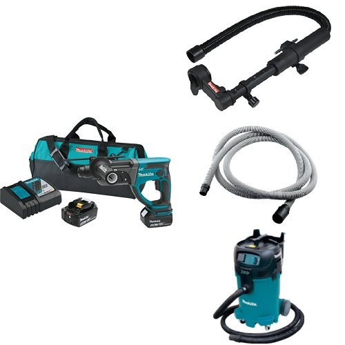 Makita XRH03T 18V LXT 7/8-Inch Rotary Hammer Kit, 193472-7 Dust Extraction Attachment, 192108-A 3/4-Inch by 10-foot Vacuum Hose, VC4710 12-Gal Xtract Vac Wet/Dry Dust Extractor/Vacuum
