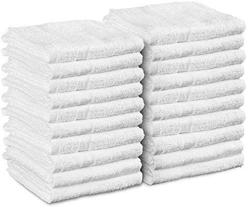 Cotton-Salon-Towels Gym-Towel Hand-Towel - (24-Pack, White) - 16 inches x 27 inches - Ringspun-Cotton, Maximum Softness and Absorbency, Easy Care – by Utopia Towels