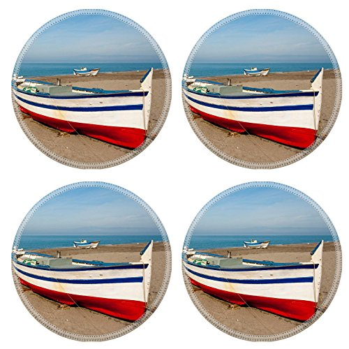 Liili Round Coasters Non-Slip Natural Rubber Desk Pads A traditional fishing boat in Salinas Andalucia Spain Photo 7127027