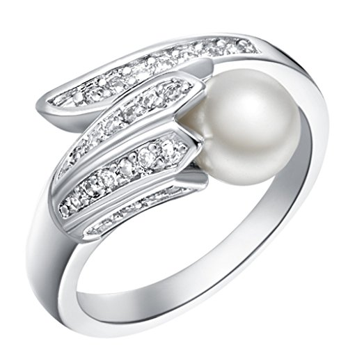(Epinki, 18k White Gold Plated Fashion Jewelry Rings Pearl Rings Size 9 )
