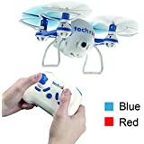 Tech RC Nano Mini Bee RC Drone Quadcopter with HD Camera Live Video 2.4GHz RC Micro Helicopter with 3D Flip Headless Mode For beginners kids-Blue