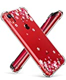 GVIEWIN Case for iPhone XR, Clear Flower Pattern Design Soft & Flexible TPU Ultra-Thin Shockproof Transparent Girls and Women Floral Cover, Cases for iPhone XR 2018(Peach Blossom/Pink)