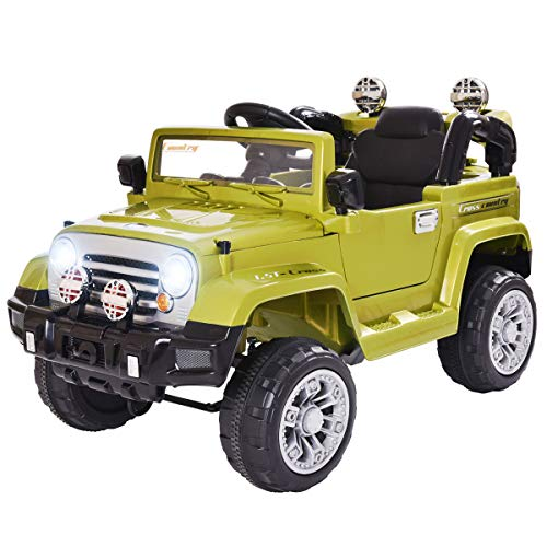 (LAZYMOON 12V Jeep Kids Ride On Battery Powered Toy Vehicle Remote Control LED Lights, Green)