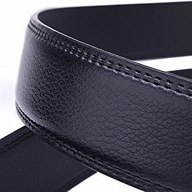 Winnerbe Mens Leather Belt Trousers Casual Business With Adjustable Automatic Sliding Buckle Ratchet Belt Black