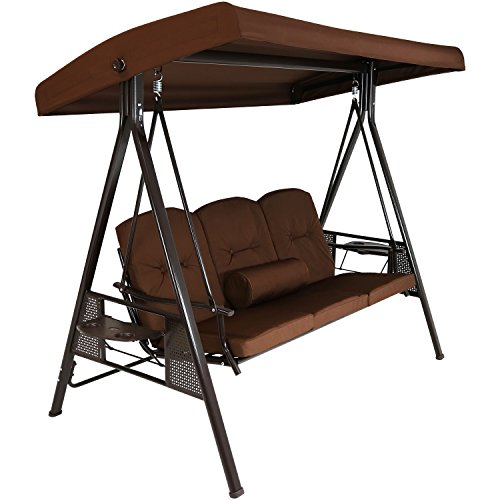 Sunnydaze 3-Person Outdoor Patio Swing Bench with Adjustable Tilt Canopy, Durable Steel Metal Frame, Cushions and Pillow Included, Brown