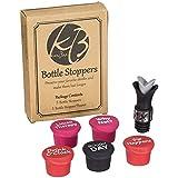 Funny reusable silicone bottle cap stoppers + gift bottle stopper/pourer, for wine, beer and others beverage bottles, beverage saver