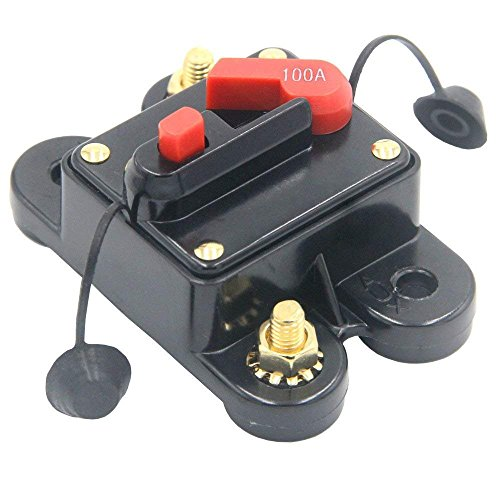 (ANJOSHI Circuit Breaker 100amp 50A-300A with Manual Reset Home Solar System Fuse Holder for Car Audio and Amps Protection 12V-24V DC Reset Fuse Inverter Replace Fuses)