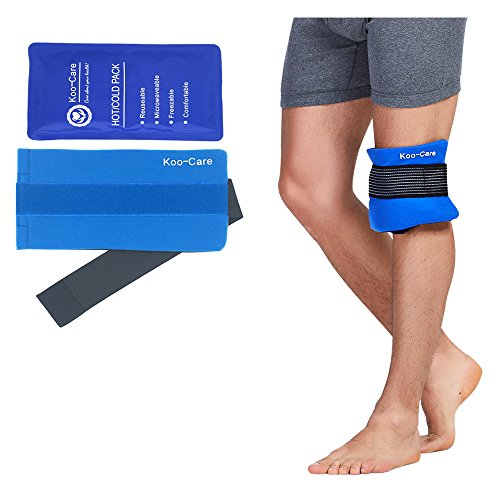 Koo-Care Flexible Gel Ice Pack & Wrap with Elastic Strap for Hot Cold Therapy - Great for Sprains, Muscle Pain, Bruises, Injuries, Etc. (Neck, Arm, Elbow, Waist, Knee, Ankle)(Medium)