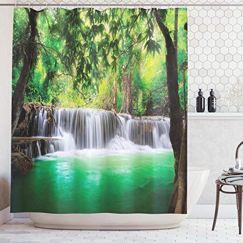 Ambesonne Waterfall Decor Collection, Tropical Forest Trees Thailand Kanjanaburi Waterscape Sunny Day View, Polyester Fabric Bathroom Shower Curtain Set with Hooks, Green Ecru