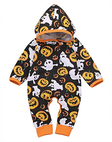 (KimSoong Newborn Baby Boys Girls Halloween Costume Pumpkin Ghost Print Long Sleeve Hooded Romper Jumpsuit Outfits Sets Size 0-3M/Tag70 (Black))