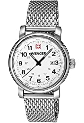 Wenger Urban Classic Womens White Textured Dial, Stainless Steel Mesh Bracelet 1021.103