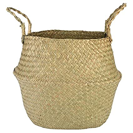 Straw Flower Pot Plants Folding Storage Baskets Vase Hanging Baskets Home  Flower Storage Basket Garden Pot