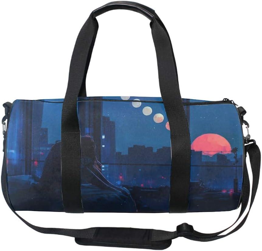 Round Alone Night Gym Duffle Bag Drum tote Fitness Shoulder Handbag Messenger Bags