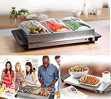 Servidor de buffet bandeja de calentamiento Calentador de alimentos bandejas plato caliente 3 Pan 300 W