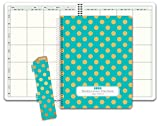 HARDCOVER 8 Period Teacher Lesson Plan; Days Vertically Down the Side (W208) (+) Bonus Clip-in Bookmark (Gold Dots Turquoise)