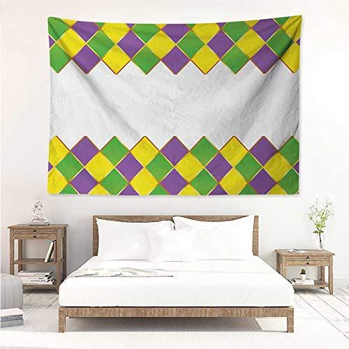 - alisos Mardi Gras,Wall Decor Tapestry Carnival Colored Grid Design Diamond Line Pattern Retro Framework 80W x 60L Inch Tapestry Wallpaper Home Decor Purple Lime Green Yellow