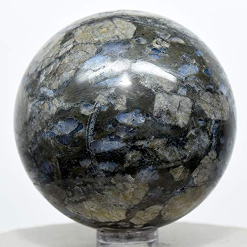 56mm Llanite Sphere Natural Sparkling Blue Opalescent Quartz Mineral Polished Ball Pink Orthoclase Crystal Gemstone - Texas + Stand
