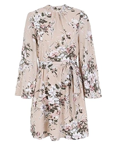Tunic Coolred Backless Sleeve Pink Bell Mini Women Summer Printing Dress 4ErW6wvEq