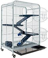 TYROL Tower Cage pour Rongeurs Bleu / Noir 64x44x93 cm