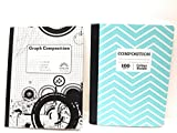 Teal Chevron Composition Notebook/5 x 5 Graph Notebook ~ Pack of 2