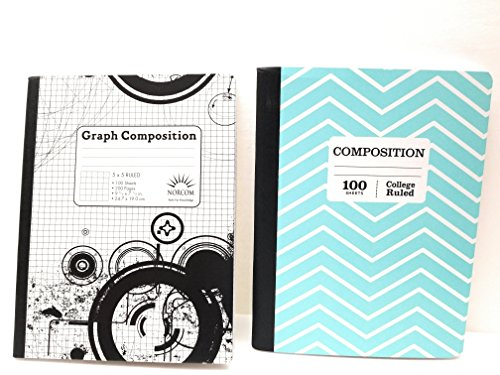Teal Chevron Composition Notebook/5 x 5 Graph Notebook ~ Pack of 2 by Norcom
