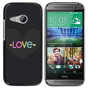 For HTC ONE MINI 2 / M8 MINI , S-type® Text Heart God Christian Metal Grey - Arte & diseño plástico duro Fundas Cover Cubre Hard Case Cover
