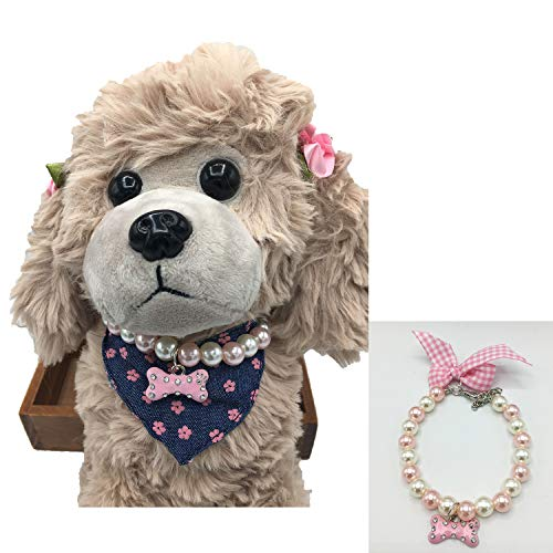 Adjustable Dog Cat artificial Pearls Necklace Collar Bling Ribbon Bone Charm Pendant Pet Puppy Jewelry for Female Girl Chihuahua Yorkie Clothes Costume Outfits Accessories (XS ( Neck < 7
