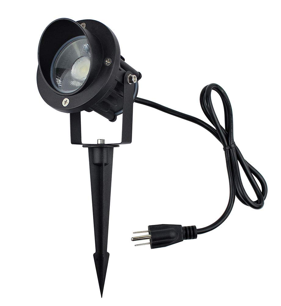 J.LUMI GBS9809 LED 9W Outdoor Spotlight with stake, 120V AC, Replaces 75W Halogen, Metal Ground Stake, 5000K Daylight White, Outdoor Flag Light, Landscape Light, UL-Listed Cord with Plug, Not Dimmable