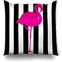 Pakaku Decorativepillows Case Throw Pillows Covers for Couch/Bed 18 x 18 inch,Hot Pink Flamingo Black White Stripes Flamingo Home Sofa Cushion Cover Pillowcase Gift Bed Car Living Home