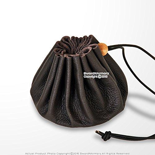 Medieval Renaissance Fair Costume Brown Leather Drannustring Coin Bag Pouch