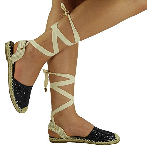 Womens Ladies Glitter Low Flat Heel Ankle Lace Up Espadrilles Shoes Sandals Size 3-8 Black HRS7tbY