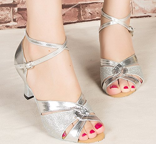 Abby Womens Latin Tango Cha-Cha Salsa Party Modern Kitten Heel Round-toe PU Dance-shoes Silvery(2.4in) 8WoQ5cMV2