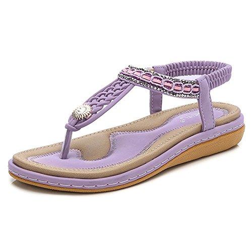 della Moda con Casual Boemia Sandali Intrecciato Purple di Estivi Fondo Piatto HqwxF8p5