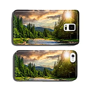 forest river with stones at sunset cell phone cover case iPhone5