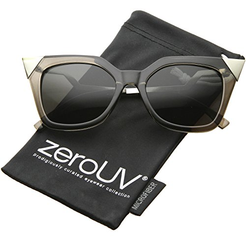 zeroUV - Womens Translucent Lightning Stepped Zigzag Temple Pointed Cat Eye Sunglasses (Clear Black-Silver / - Sunglasses Lightning