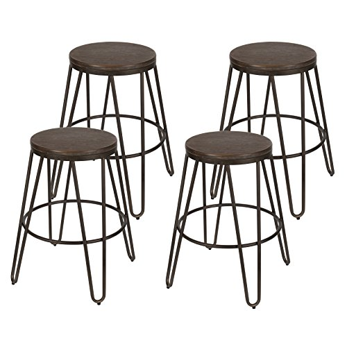 (Kate and Laurel - Tully Backless Modern Wood and Metal 24