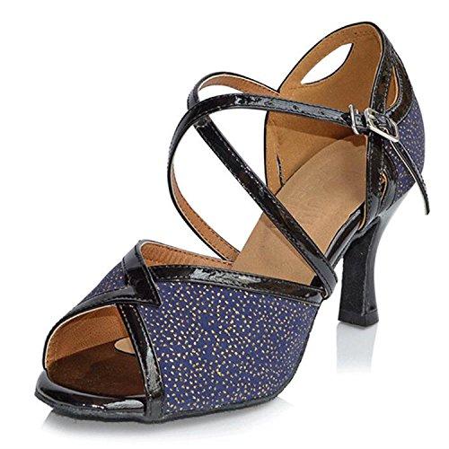 Monie Ballroom Salsa Blau Frauen Glitter Aufflackern Moderne Tango Ferse Synthetische Tanzschuhe r7rq6