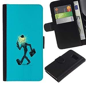 // PHONE CASE GIFT // Moda Estuche Funda de Cuero Billetera Tarjeta de crédito dinero bolsa Cubierta de proteccion Caso Samsung Galaxy S6 / Light Bulb Man in Suit /
