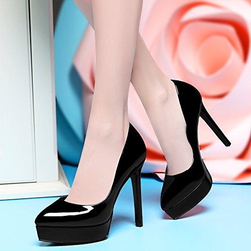 Tacon Las Plataforma Primavera Otoño Mujeres Zapatos La De HBDLH Los Puntiagudas Alto De Fino Tacon Vida Zapatos De black Único Impermeable Las 12Cm De La Zapatos Todas Caminatas 50wvq6
