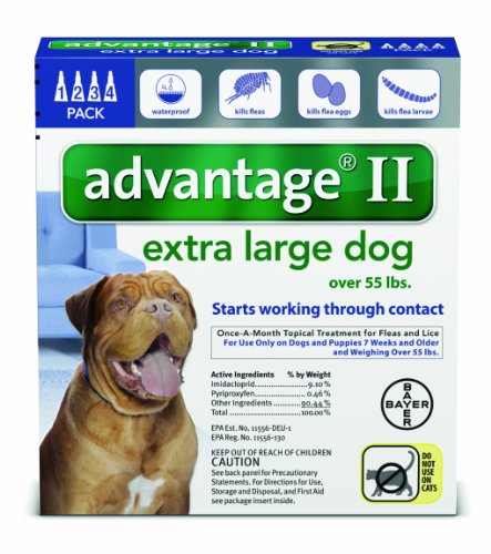 Bayer Advantage II Topical Flea Treatment for Dogs over 55 Lbs (4 Applications) by Bayer (Image #1)